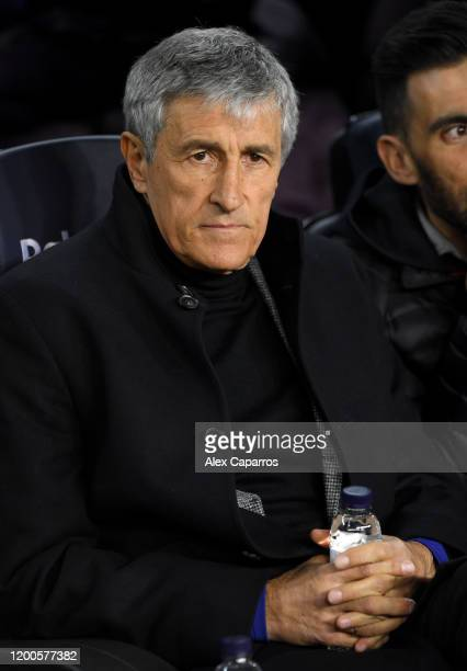 Quique Setien Manager of Barcelona looks on prior to the La Liga match between FC Barcelona and Granada CF at Camp Nou on January 19 2020 in...