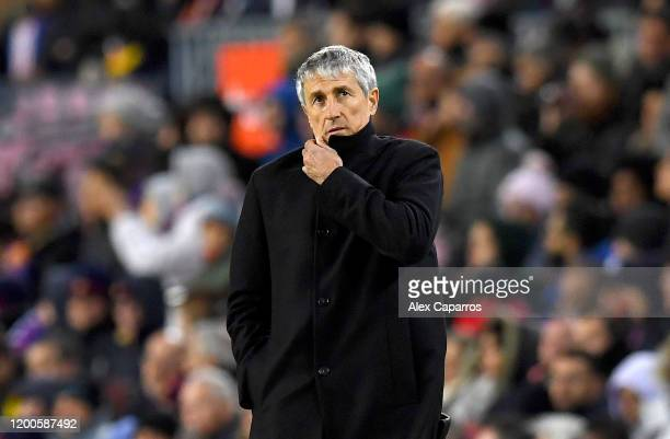 Quique Setien Manager of Barcelona reacts during the La Liga match between FC Barcelona and Granada CF at Camp Nou on January 19 2020 in Barcelona...