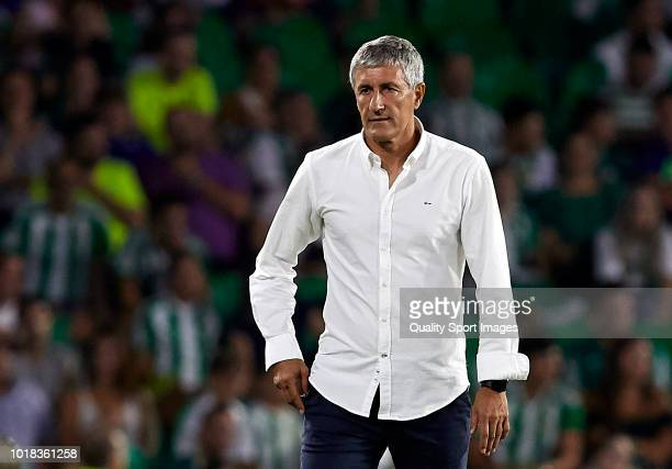 Quique Setien Manager of Betis looks on during the La Liga match between Real Betis Balompie and Levante UD at Estadio Benito Villamarin on August 17...