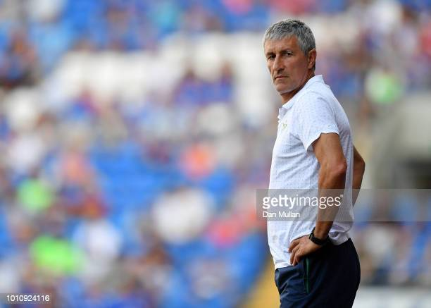 Quique Setien Manager of Real Betis looks on during the PreSeason Friendly match between Cardiff City and Real Betis at Cardiff City Stadium on...