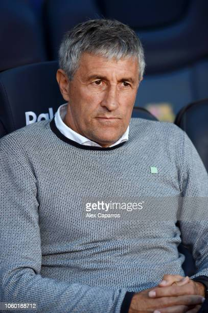 Quique Setien manager of Real Betis looks on prior to the La Liga match between FC Barcelona and Real Betis Balompie at Camp Nou on November 11 2018...