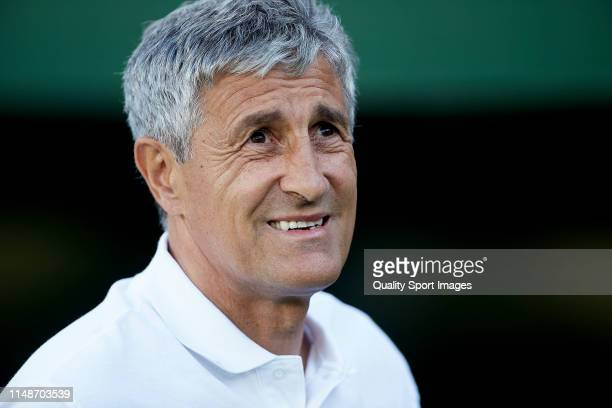 Quique Setien Manager of Real Betis looks on prior to the La Liga match between Real Betis Balompie and SD Huesca at Estadio Benito Villamarin on May...