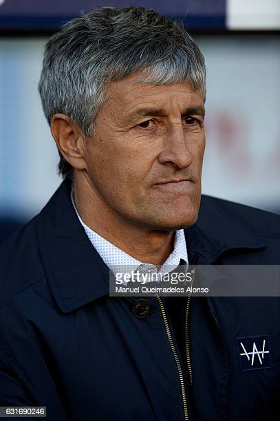 Quique Setien Manager of UD Las Palmas looks on prior to the La Liga match between FC Barcelona and UD Las Palmas at Camp Nou Stadium on January 14...