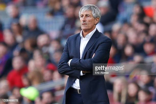 Quique Setien of FC Barcelona follows the action during the Liga match between FC Barcelona and Getafe CF at Camp Nou on February 15 2020 in...