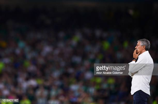 Quique Setien of Real Betis Balompie looks on during the La Liga match between Real Betis Balompie and Levante UD at Estadio Benito Villamarin on...