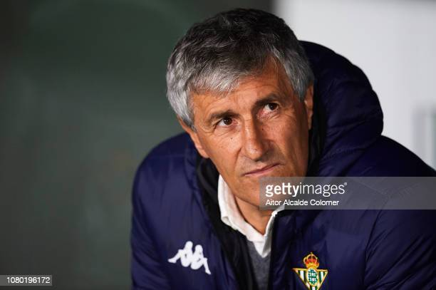 Quique Setien of Real Betis Balompie looks on during the La Liga match between Real Betis Balompie and Rayo Vallecano de Madrid at Estadio Benito...