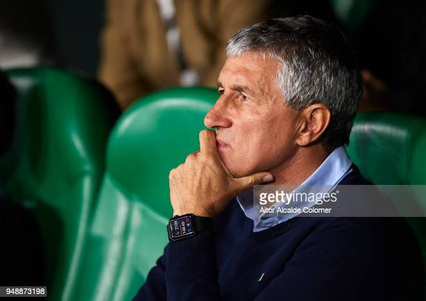 Quique Setien of Real Betis Balompie looks on prior to the La Liga match between Real Betis and Las Palmas at Estadio Benito Villamarin on April 19...