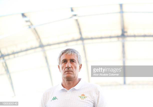 Quique Setien of Real Betis Balompie looks on prior to the preseason friendly match between Olympique Marseille and Real Betis at Estadio Algarve on...