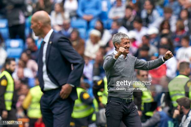 Quique Setien of Real Betis Balonpie celebrates after his team's first goal during the La Liga match between Real Madrid CF and Real Betis Balompie...