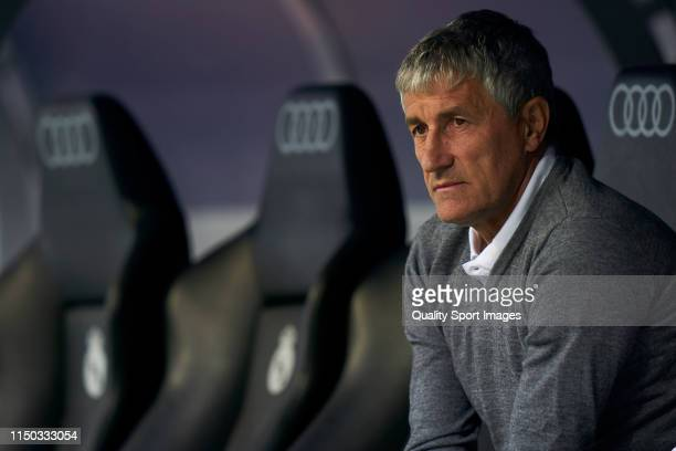 Quique Setien of Real Betis Balonpie in the bench during the La Liga match between Real Madrid CF and Real Betis Balompie at Estadio Santiago...