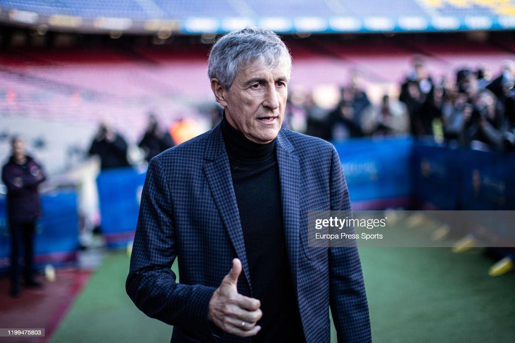 Quique Setien Presentation In FC Barcelona : News Photo