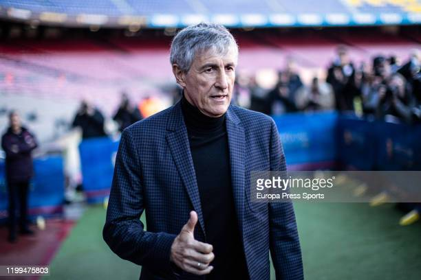 Quique Setien poses for photo during his presentation as a new coach of FC Barcelona with contract till 30th of June of 2022 at Camp Nou Stadium on...