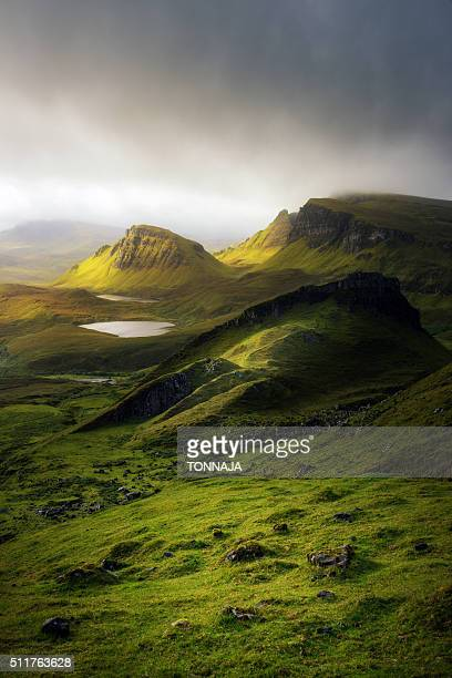 quiraing, isle of skye - scottish highlands stock pictures, royalty-free photos & images