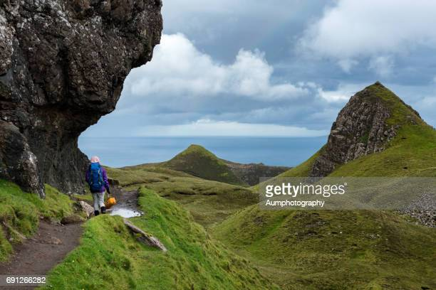Quiraing trakking trail, Isle of Skye, UK.