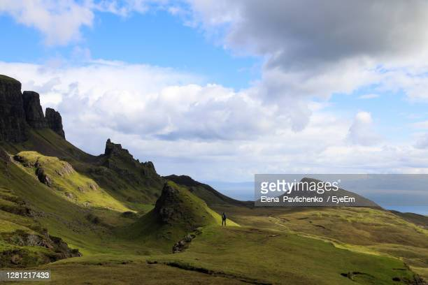quirang valley in skye island in scotland - volcanic terrain stock pictures, royalty-free photos & images