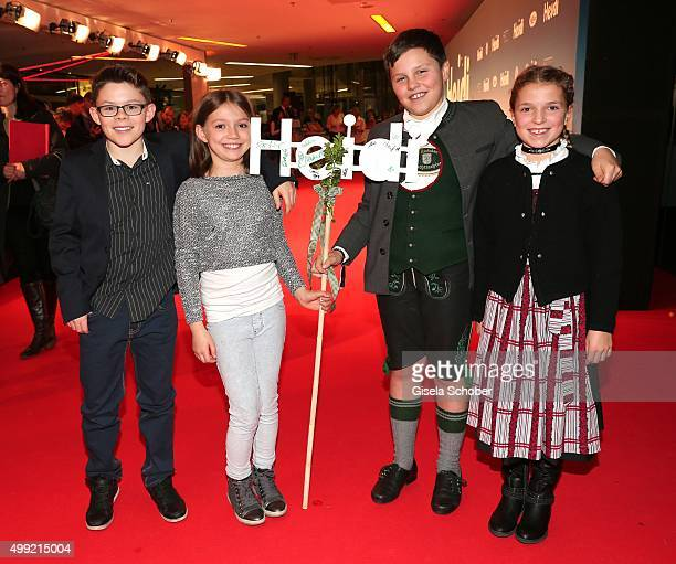 Quirin Agrippi and Anuk Steffen with fans Maxi and Marina during the German premiere of the film 'HEIDI' at Mathaeser Filmpalast on November 29 2015...