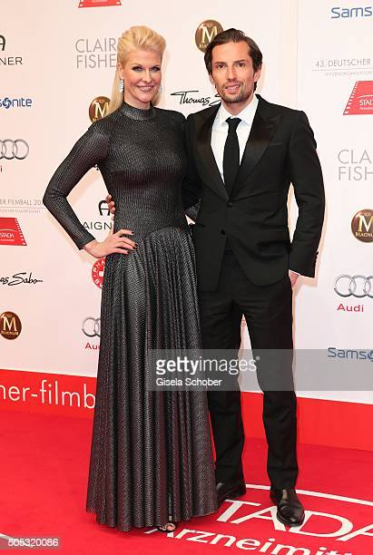 Quirin Berg and his girlfriend Natascha Gruen dresscoded during the German Film Ball 2016 arrival at Hotel Bayerischer Hof on January 16 2016 in...