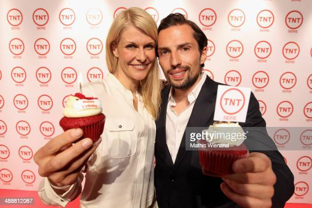 Quirin Berg and Natascha Gruen attend a party to celebrate the 5th anniversary of TV channel TNT Serie at Kesselhalle on May 8 2014 in Munich Germany