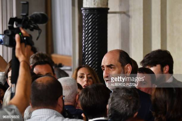 Quirinale speaker Giovanni Grasso answers journalists' questions after the meeting beetwen designated Prime Minister Carlo Cottarelli and Italian...