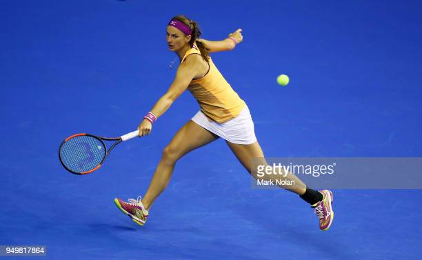 Quirine Lemoine of the Netherlands plays a backhand in her match against Daria Gavrilova of Australia during the World Group PlayOff Fed Cup tie...