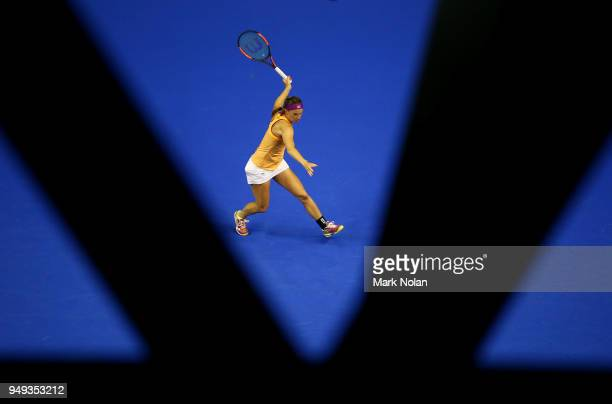 Quirine Lemoine of the Netherlands plays a forehand in her match against Ashleigh Barty of Australia during the World Group PlayOff Fed Cup tie...