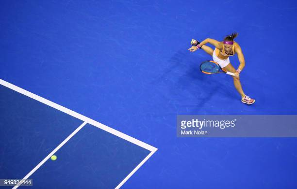 Quirine Lemoine of the Netherlands plays a forehand in her match against Daria Gavrilova of Australia during the World Group PlayOff Fed Cup tie...