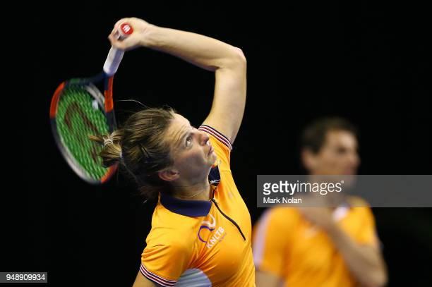 Quirine Lemoine of the Netherlands practices during a training session ahead of the World Group PlayOff Fed Cup tie between Australia and the...