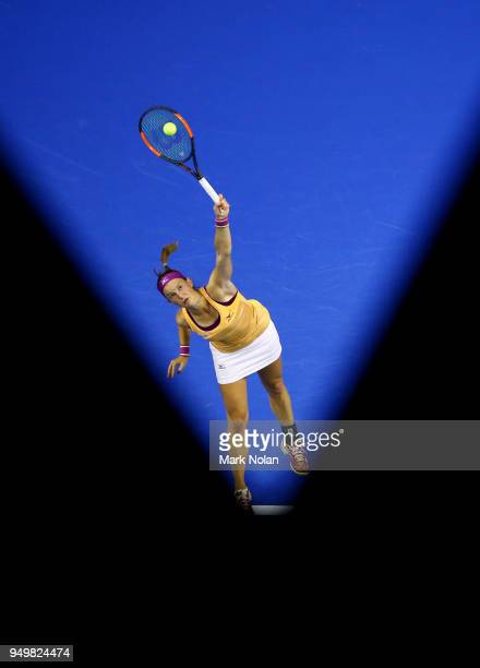 Quirine Lemoine of the Netherlands serves in her match against Daria Gavrilova of Australia during the World Group PlayOff Fed Cup tie between...