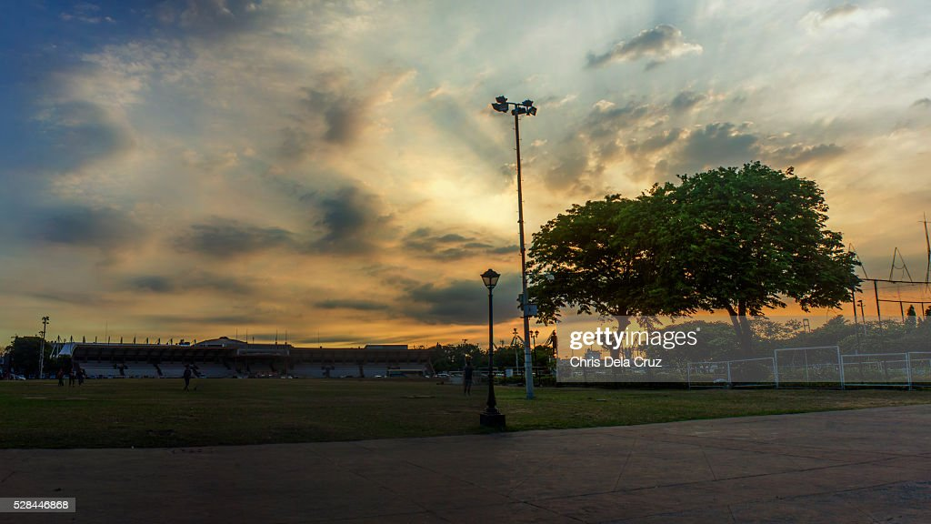 Quirino Grandstand, Rizal Park at sunset : Stockfoto
