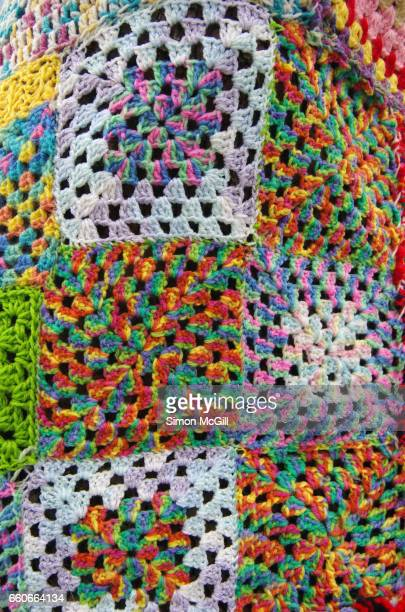 quirky moments - yarn bombing stock photos and pictures