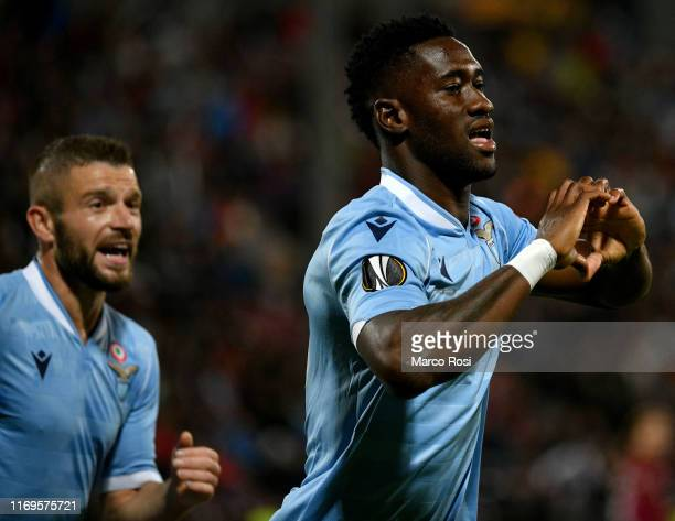 Quissanga Basto of SS Lazio celebrates the opening goal with his team-mates during the UEFA Europa League group E match between CFR Cluj and Lazio...