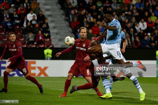 Quissanga Basto of SS Lazio cscores a opening goal during the UEFA Europa League group E match between CFR Cluj and Lazio Roma at...