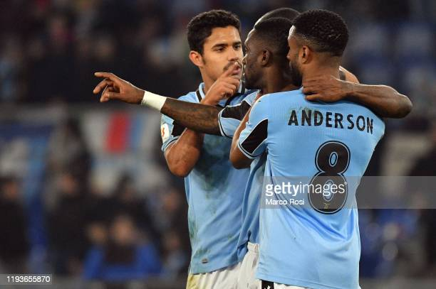 Quissanga Bastos of SS Lazio celebrate a fourth goal with his team mates during the Coppa Italia match between SS Lazio and US Cremonese at Olimpico...