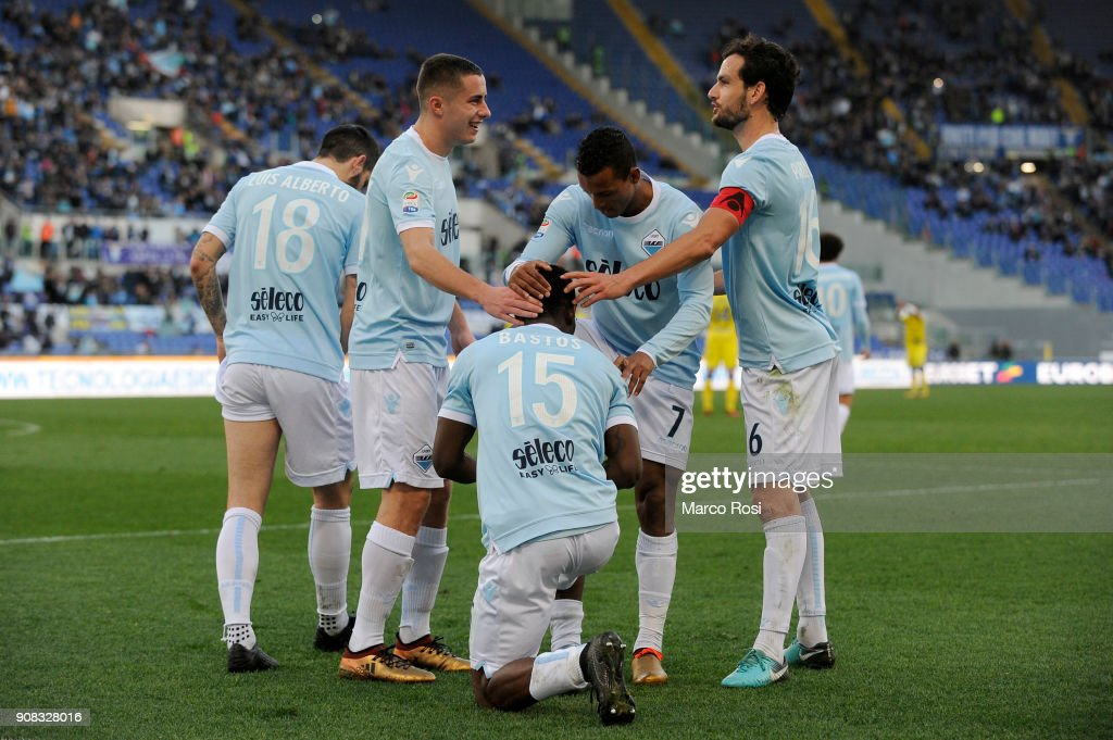 Quissanga Bastos of SS Lazio celebrates a fourth goal during the serie A match between SS Lazio and AC Chievo Verona at Stadio Olimpico on January 21, 2018 in Rome, Italy.