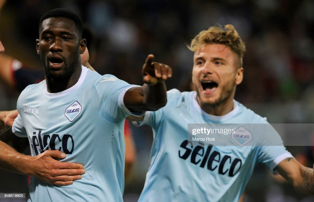 Quissanga Bastos of SS Lazio celebrates a opening goal during the Serie A match between Genoa CFC and SS Lazio at Stadio Luigi Ferraris on September 17, 2017 in Genoa, Italy.
