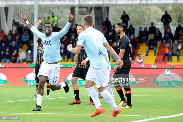 Quissanga Bastos of SS Lazio celebrates a opening goal with his team mates during the Serie A match between Benevento Calcio and SS Lazio at Stadio...