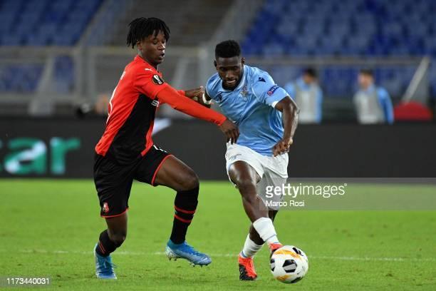 Quissanga Bastos of SS Lazio compete for the ball with Eduardo Camavinga of Stade Rennes during the UEFA Europa League group E match between SS Lazio...
