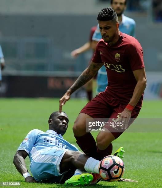 Quissanga Bastos of SS Lazio compete for the ball with Emerson Palmieri of AS Roma during the Serie A match between AS Roma and SS Lazio at Stadio...