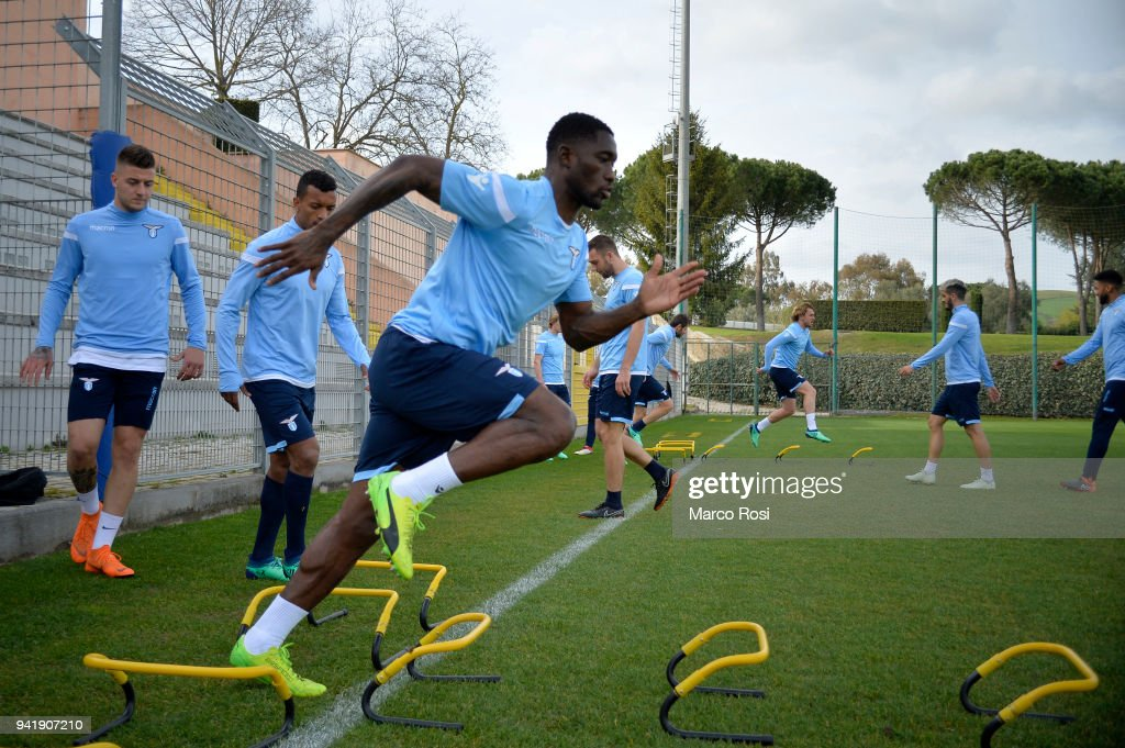 Quissanga Bastos of SS Lazio during the SS Lazio training session on April 4, 2018 in Rome, Italy.