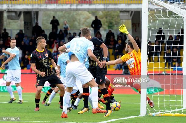 Quissanga Bastos of SS Lazio scores a opening goal during the Serie A match between Benevento Calcio and SS Lazio at Stadio Ciro Vigorito on October...
