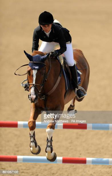 Quister de Guldenboom ridden by Switzerland's Jane Richard Philips jumps during the Longines Global Champions Tour at the Olympic Park Stratford...