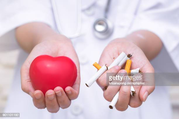 Quit smoking is beneficial for heart health.,Smoking cessation is a health benefit.
