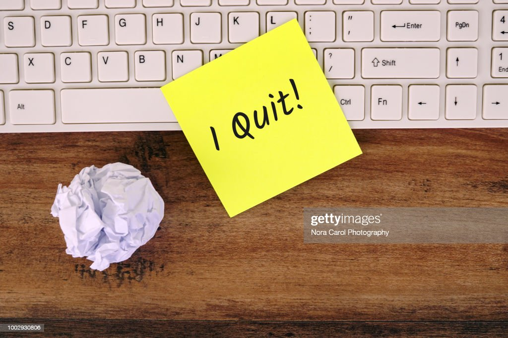 I Quit Text on Yellow Note : Stock Photo