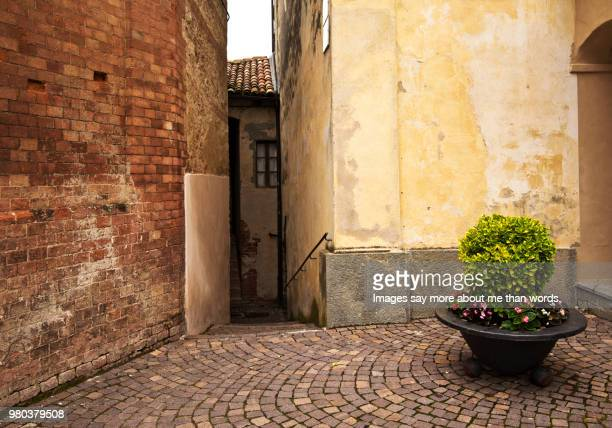 a quite corner in barolo's city with its old walls and flowers. - corner stock pictures, royalty-free photos & images