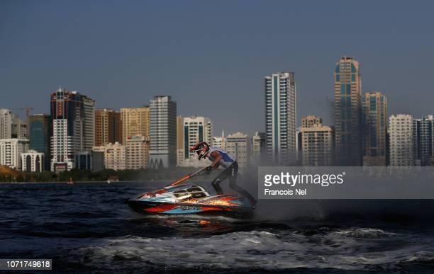 Quiten Bossche of Belgium race in the Ski Division GP1 during qualifying for the UIMABP Aquabike Class Pro Circuit Grand Prix of Sharjah at Khalid...