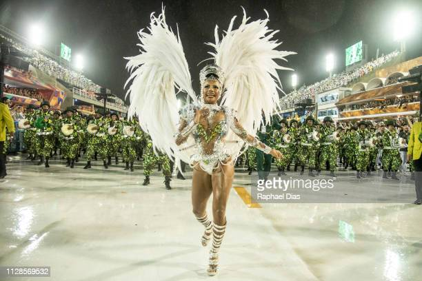 Quiteria Chegas dances during Imperio Serrano performance at the Rio de Janeiro Carnival at Sambodromo on March 3, 2019 in Rio de Janeiro, Brazil.