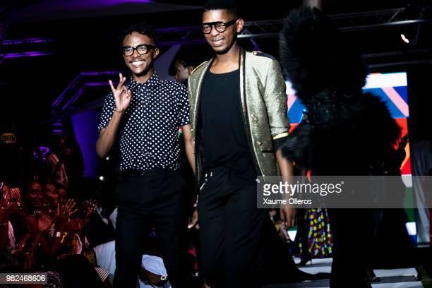 Quiteria & George greet the crowd after their show at the 16th Dakar Fashion Week at Radison Blu Hotel on June 23, 2018 in Dakar, Senegal.