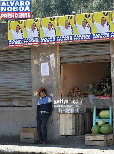A boy stands outside a fruit store decorated with posters of presidential candidate Alvaro Noboa in the town of Cangagua some 80 km from Quito on...