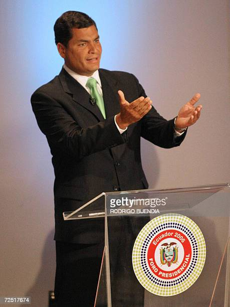 Ecuadorean presidential candidate Rafael Correa takes part in a televised debate with the three other main candidates Alberto Noboa Leon Roldos and...
