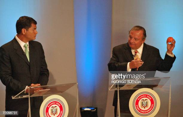 Ecuadorean presidential candidates Alvaro Noboa and Rafael Correa take part in a televised debate with the two other main candidates Leon Roldos and...